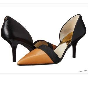 Michael Kors Wendy Pumps Suntan Black Leather Sz 8